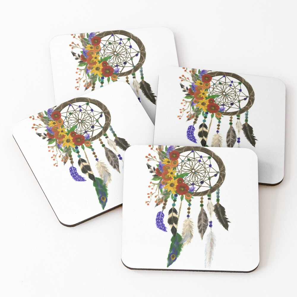 Dream Catcher with Wildflowers and Feather by Jami Amerine Coasters (Set of 4)