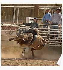 Contortionist Bull Trying to Throw Its Rider Poster
