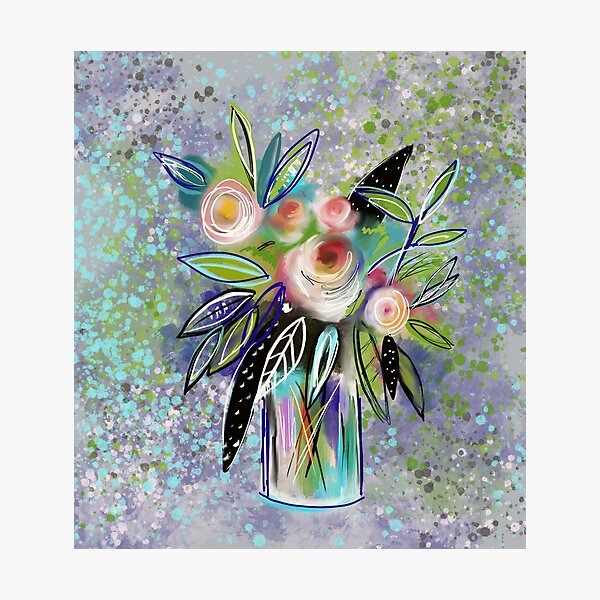 Abstract Watercolor Roses in a Vase by Jami Amerine Photographic Print