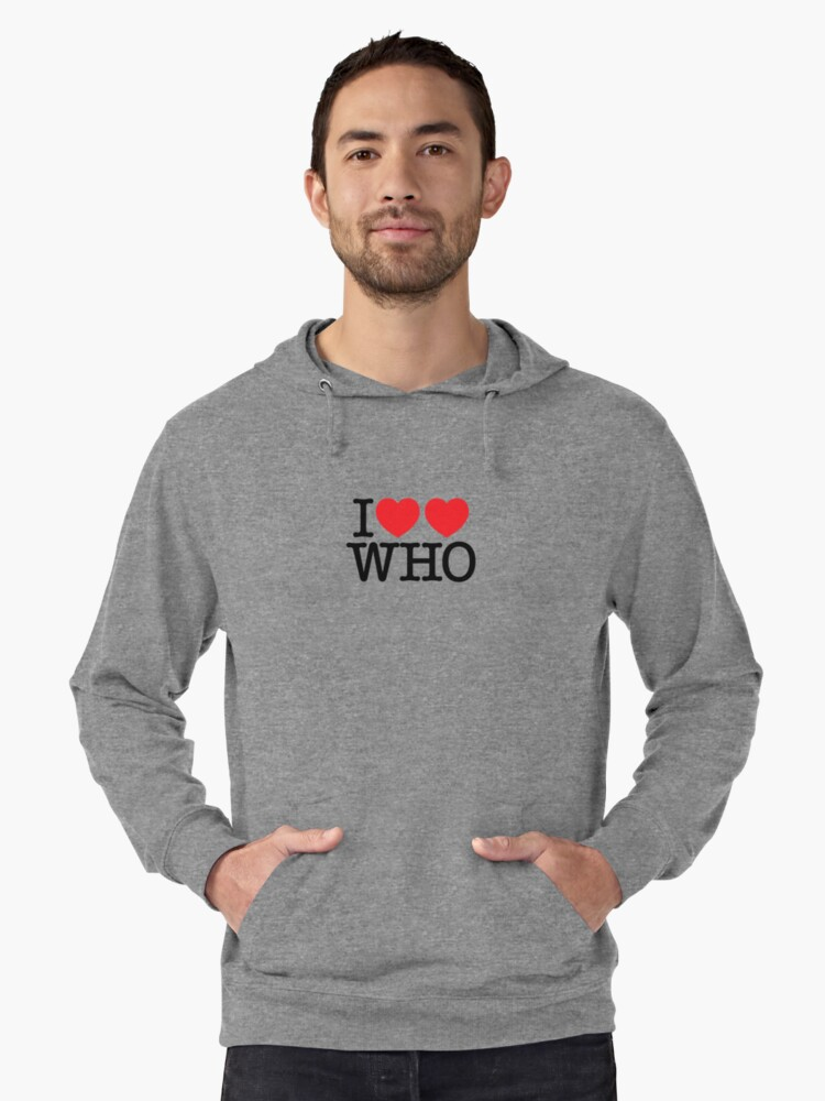 I ♥♥ WHO (light) Lightweight Hoodie Front