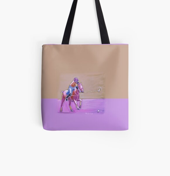 polo player taupe-lilac All Over Print Tote Bag