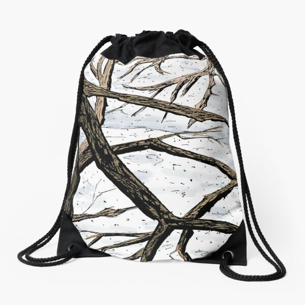 Tree Branches in a Snowscape Drawstring Bag