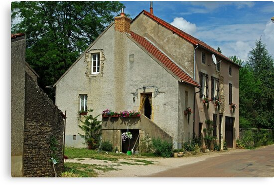 French Village Farmhouse with Dish by TeaCee