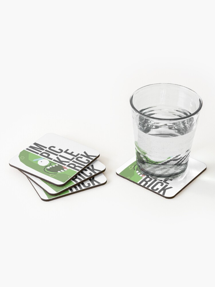 Alternate view of Pickle Rick! Coasters (Set of 4)