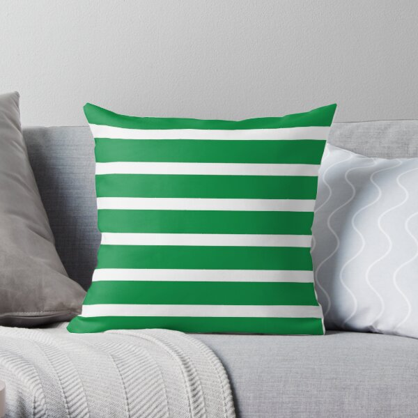 Bold Green and White Stripes  Throw Pillow