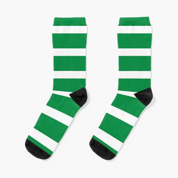Bold Green and White Stripes  Socks