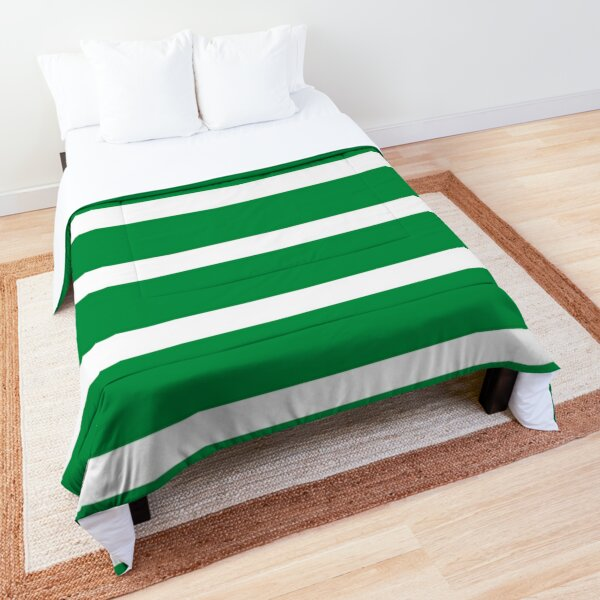 Bold Green and White Stripes  Comforter