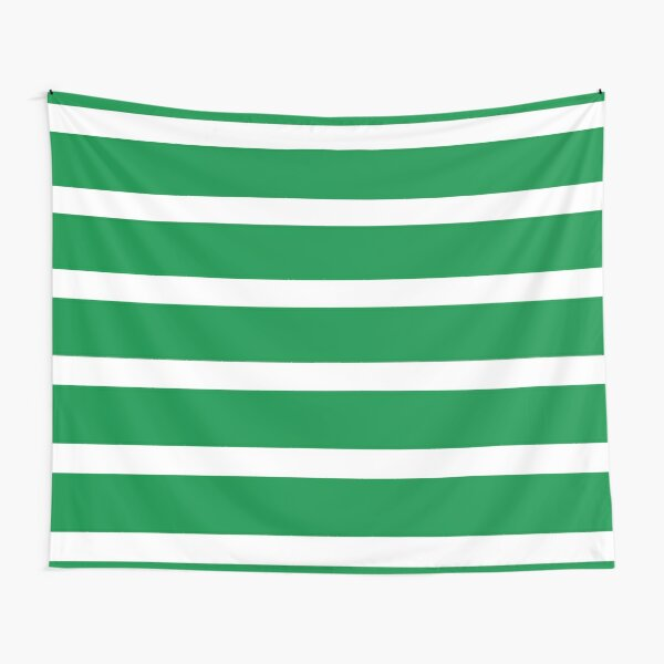 Bold Green and White Stripes  Tapestry