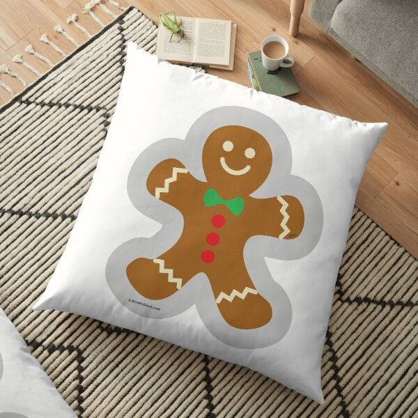 Gingerbread Man Making The Angel In The Snow Floor Pillow