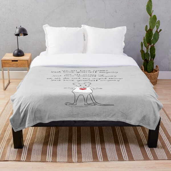 MantraMouse® Love Yourself Anyway Cartoon on Gray Background Throw Blanket