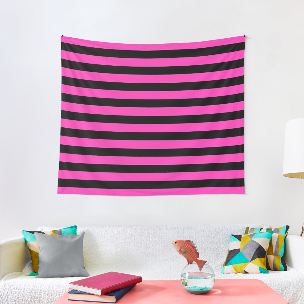 Hot Pink and Black Stripes  Tapestry