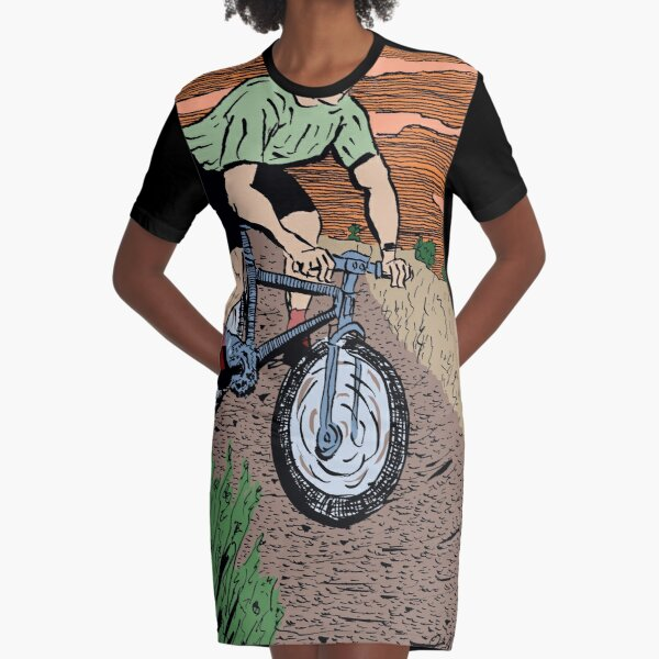 Mountain Biking On Corral Loop Graphic T-Shirt Dress