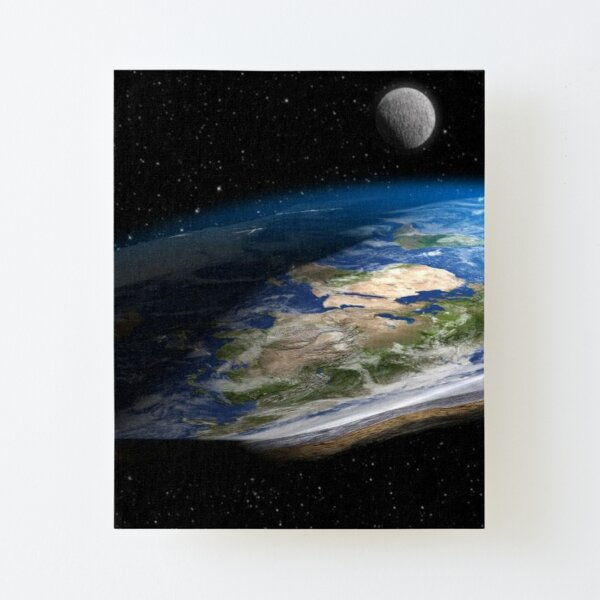 Earth is flat, Astronomy, Science, Exploration, Moon, Space, Galaxy, Solar System, Atmosphere, Satellite Canvas Mounted Print