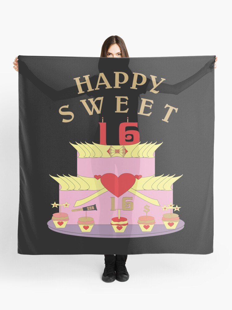 Miraculous Happy 16Th Birthday Cake Scarf By Bulbvision Redbubble Personalised Birthday Cards Veneteletsinfo