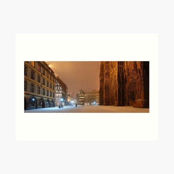 Place de la Cathédrale en hiver à Strasbourg Impression artistique
