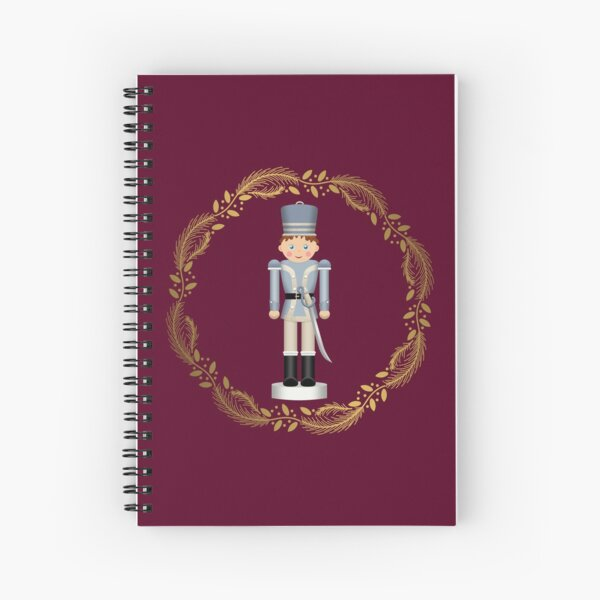 The Nutcracker Christmas Special - Toy Soldier Nutcracker in Golden Christmas Wreath (Crimson) Spiral Notebook