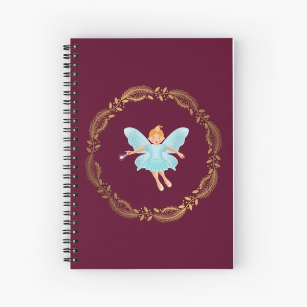 The Nutcracker Christmas Special - Nutcracker Scene -Sugar Plum Fairy in Golden Christmas Wreath (Crimson) Spiral Notebook