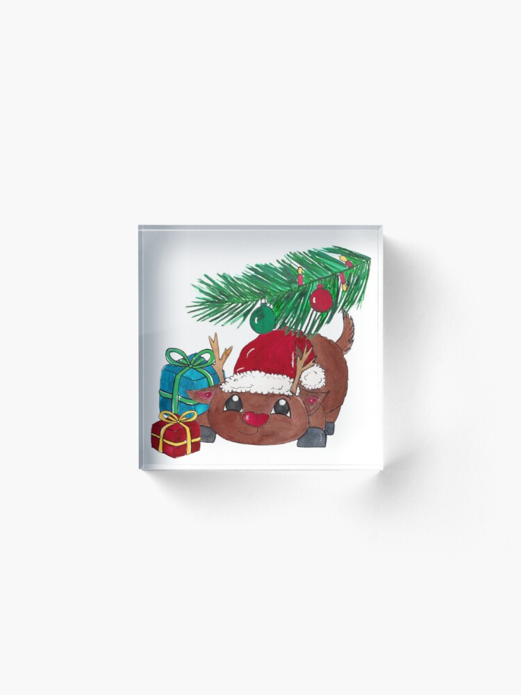 Alternate view of Reindeer with fir branch and presents. Merry Christmas! Acrylic Block