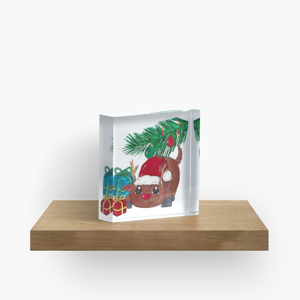 Reindeer with fir branch and presents. Merry Christmas! Acrylic Block