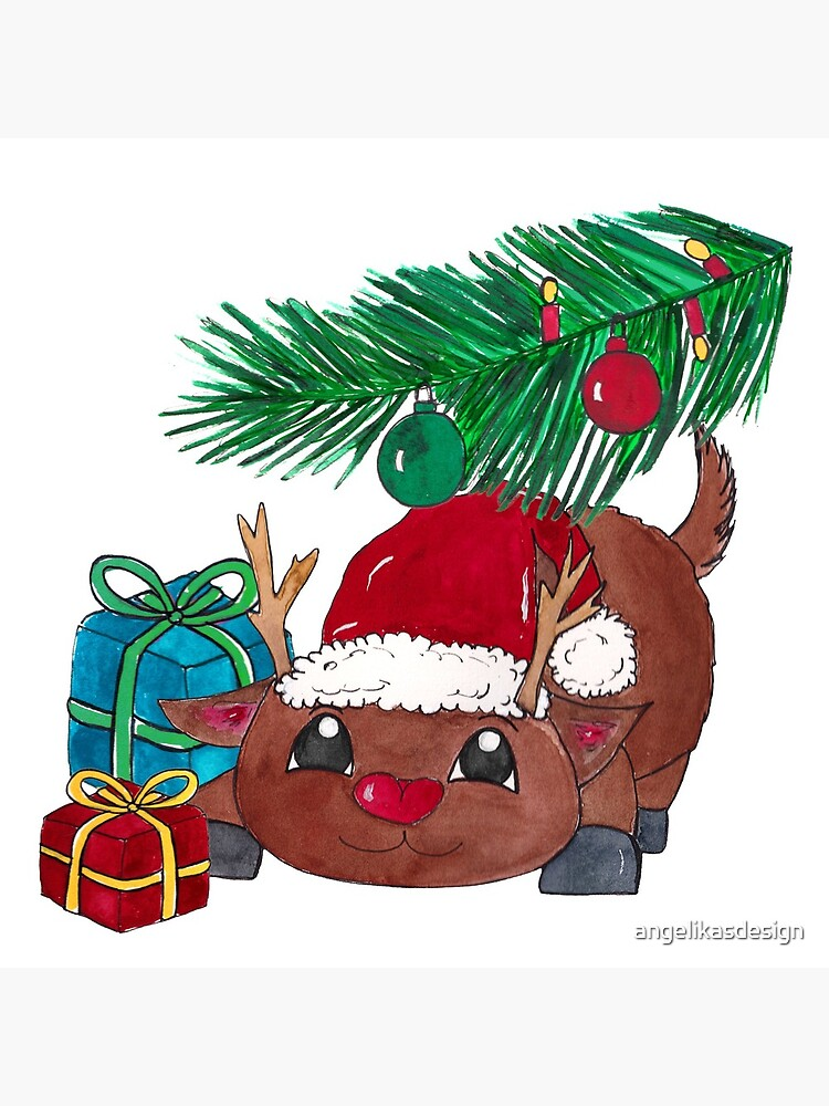 Reindeer with fir branch and presents. Merry Christmas! by angelikasdesign