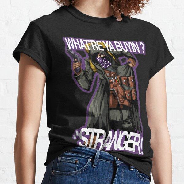Resident Evil 4 Merchant (Quotes # 5) (Purple OutLine) Camiseta clásica