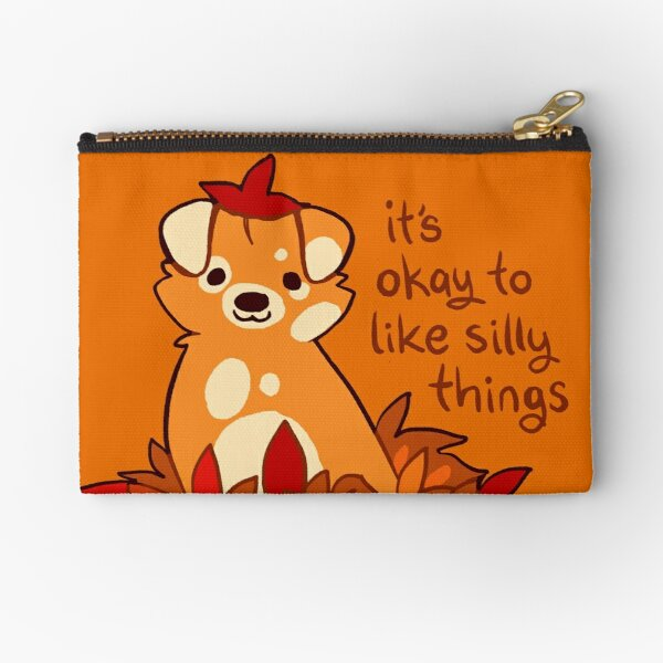 """""""It's Okay to Like Silly Things"""" Fall Leaves Puppy Zipper Pouch"""