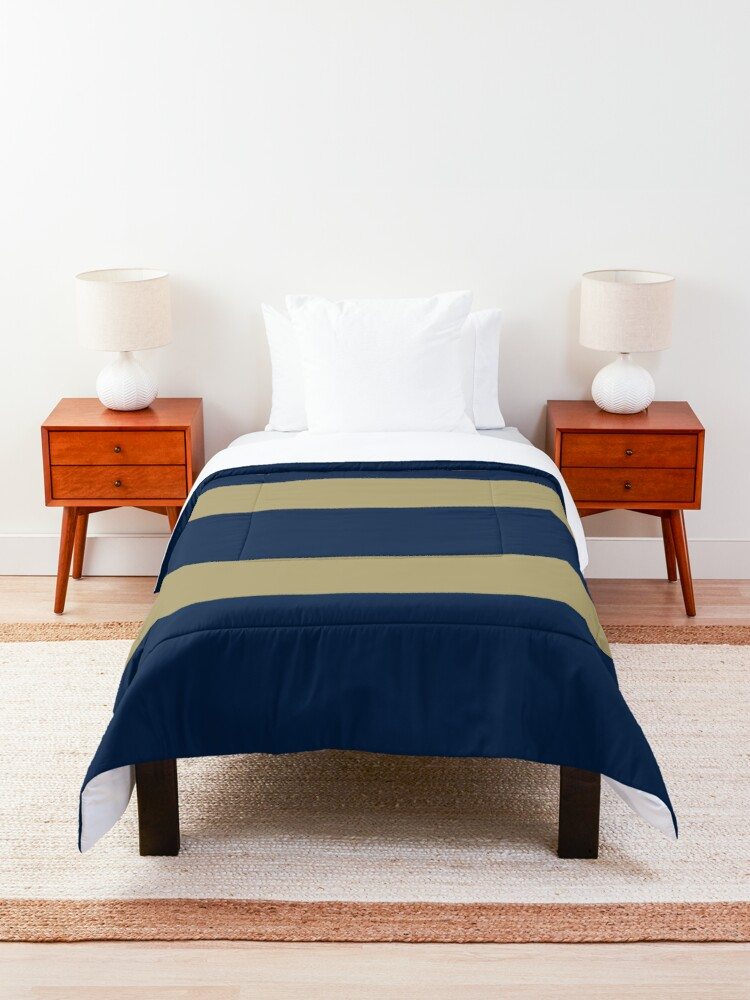 Alternate view of Blue and Gold Horizontal Stripes  Comforter