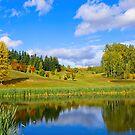 Beauty of the city park in autumn by Elzbieta Fazel