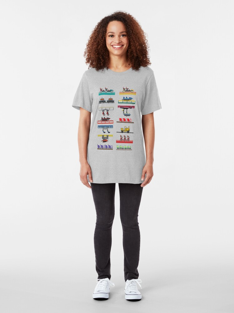 Alternate view of Canada's Wonderland Coaster Cars Design Slim Fit T-Shirt