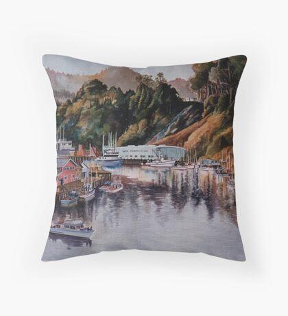 Noyo Harbor at Dawn Throw Pillow