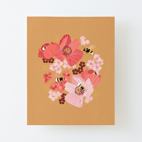 Bumblebees and pollen (with stickers) Canvas Mounted Print