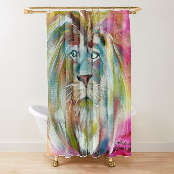 The White Lion Shower Curtain