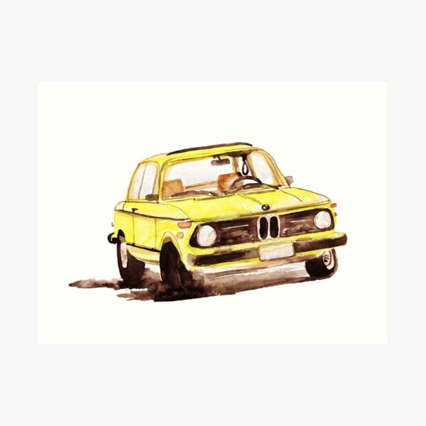 Old Car Model 1975 2002tii Fan gift decor, Watercolor painting  Art Print