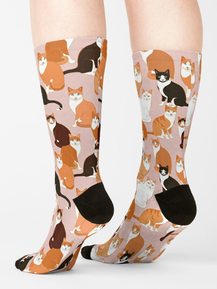 Alternate view of Ginger Cats on pink Socks