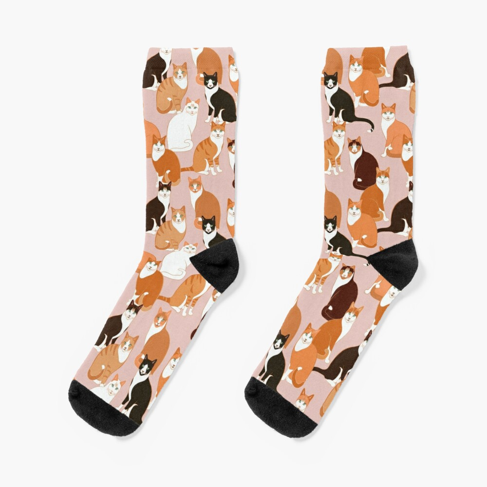 Ginger Cats on pink Socks
