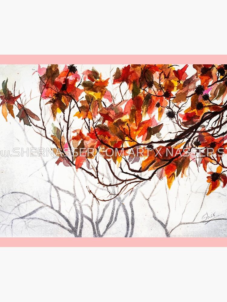 Fall Leaves - Watercolor Art by shernasser
