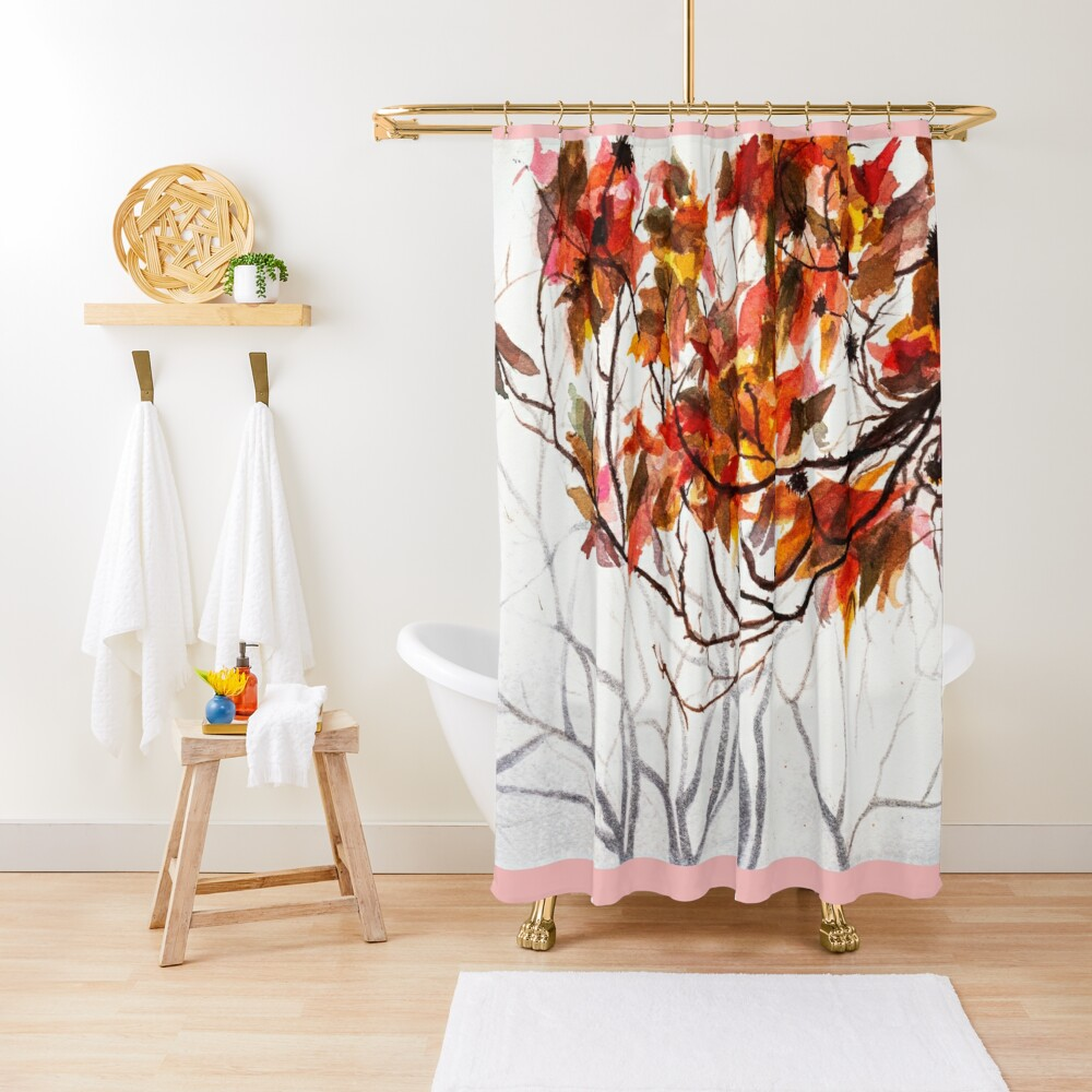 Fall Leaves - Watercolor Art Shower Curtain
