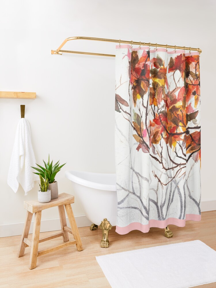 Alternate view of Fall Leaves - Watercolor Art Shower Curtain