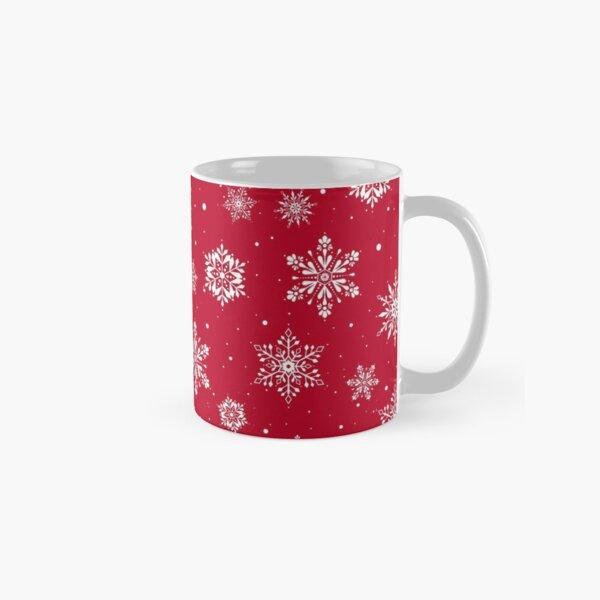 Christmas Folk Snowflakes V2 Red Classic Mug