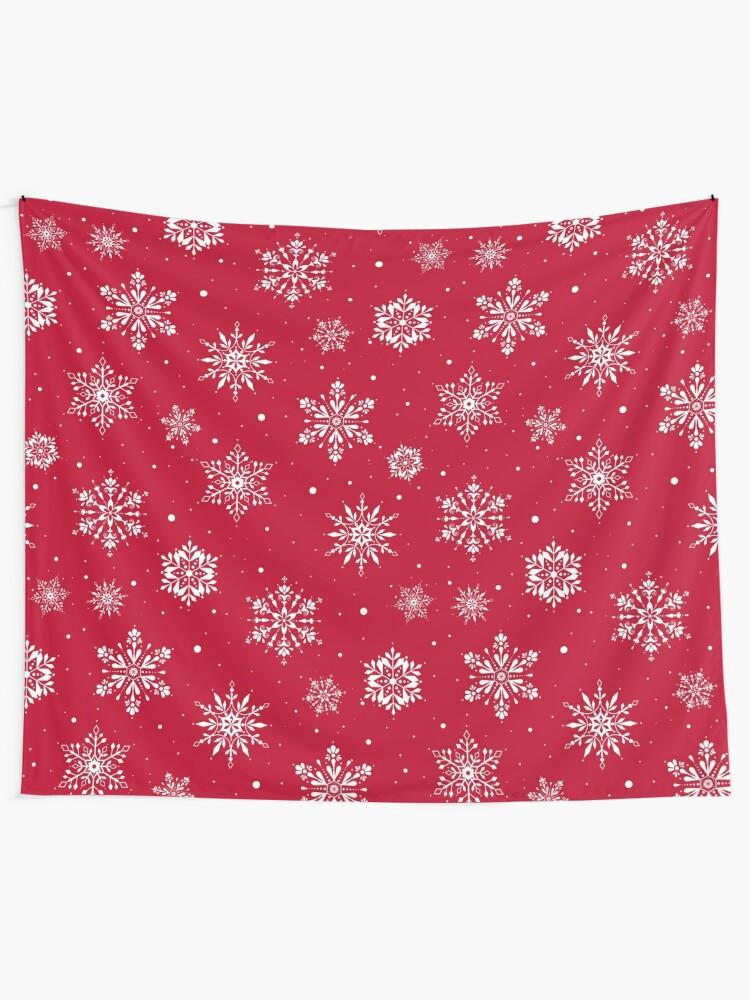 Alternate view of Christmas Folk Snowflakes V2 Red Tapestry