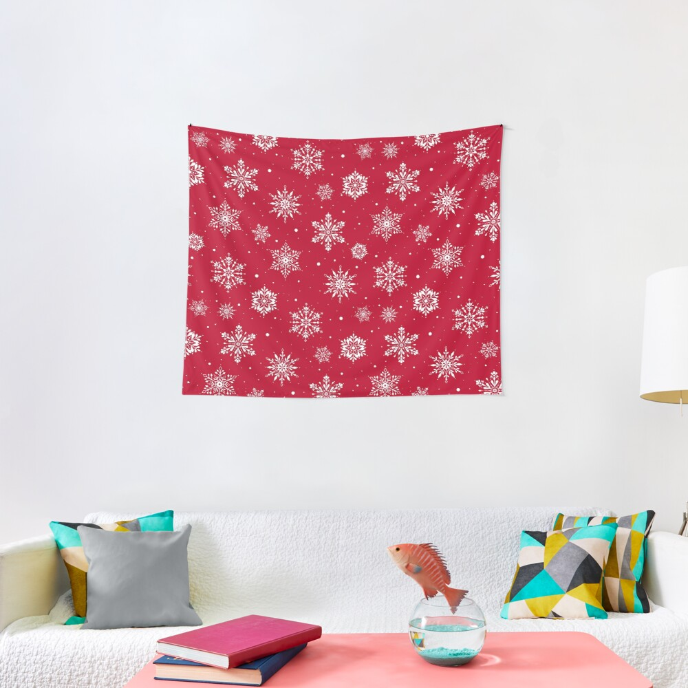 Christmas Folk Snowflakes V2 Red Tapestry