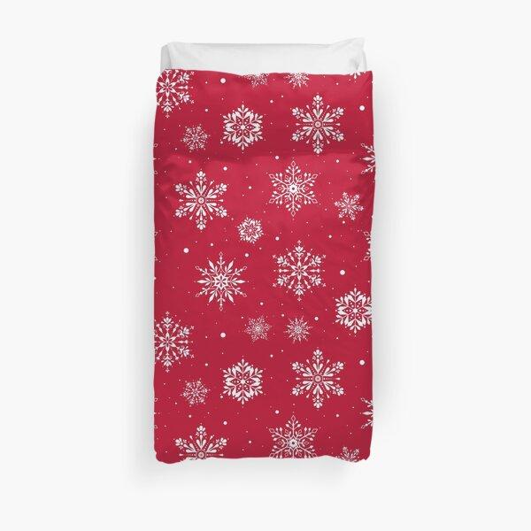 Christmas Folk Snowflakes V2 Red Duvet Cover