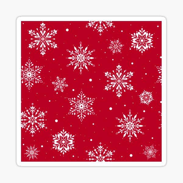 Christmas Folk Snowflakes V2 Red Sticker