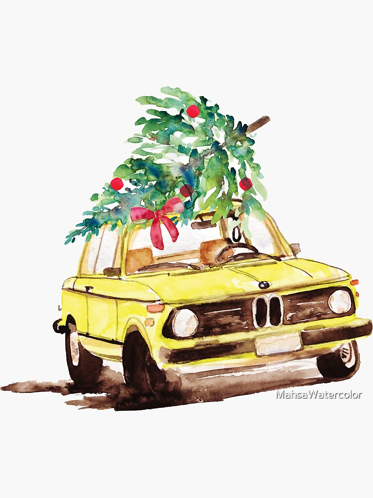 Xmas Tree on Old Car Model 1975 2002tii Fan gift, Watercolor painting  by MahsaWatercolor