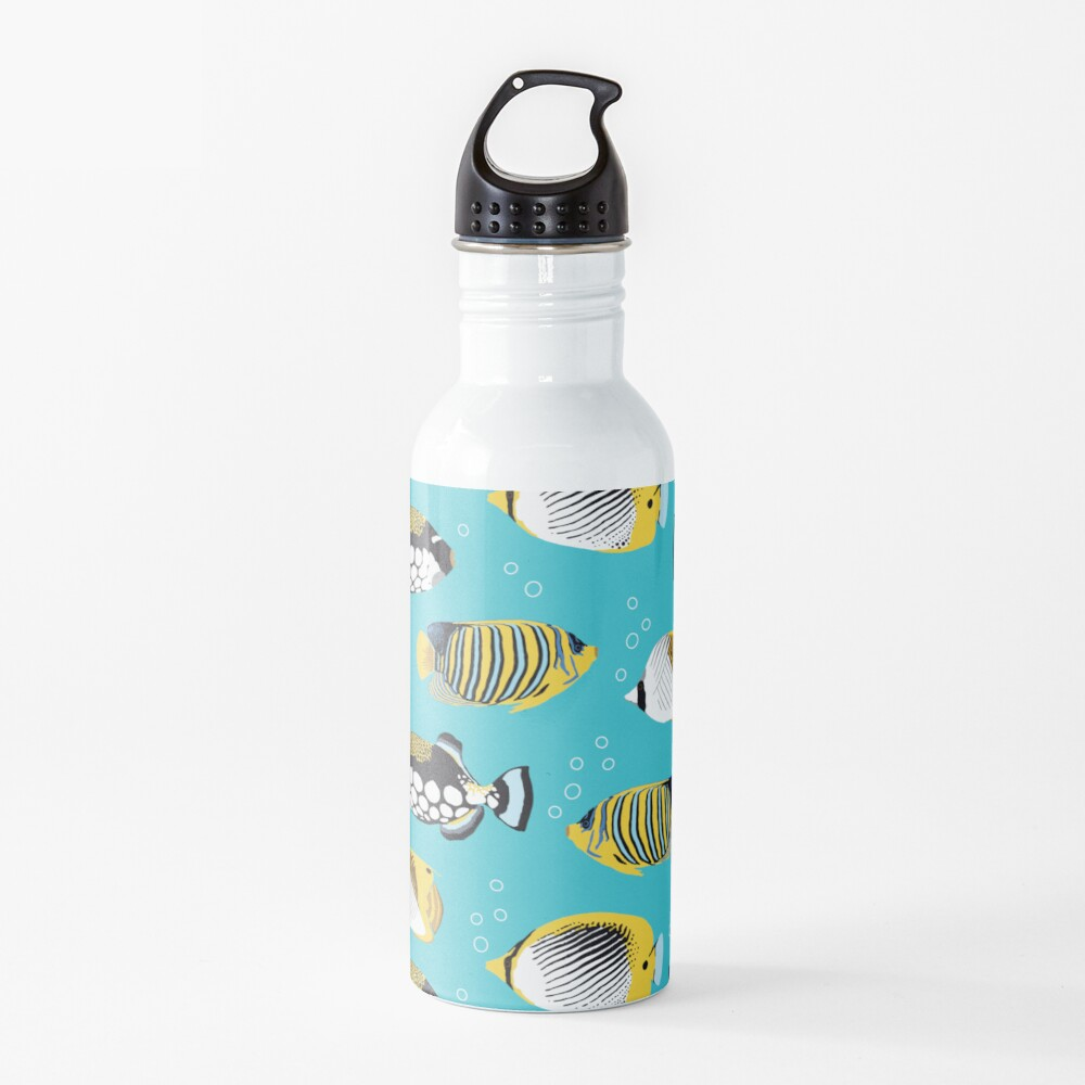 Tropical Fish in water (with stickers) Water Bottle