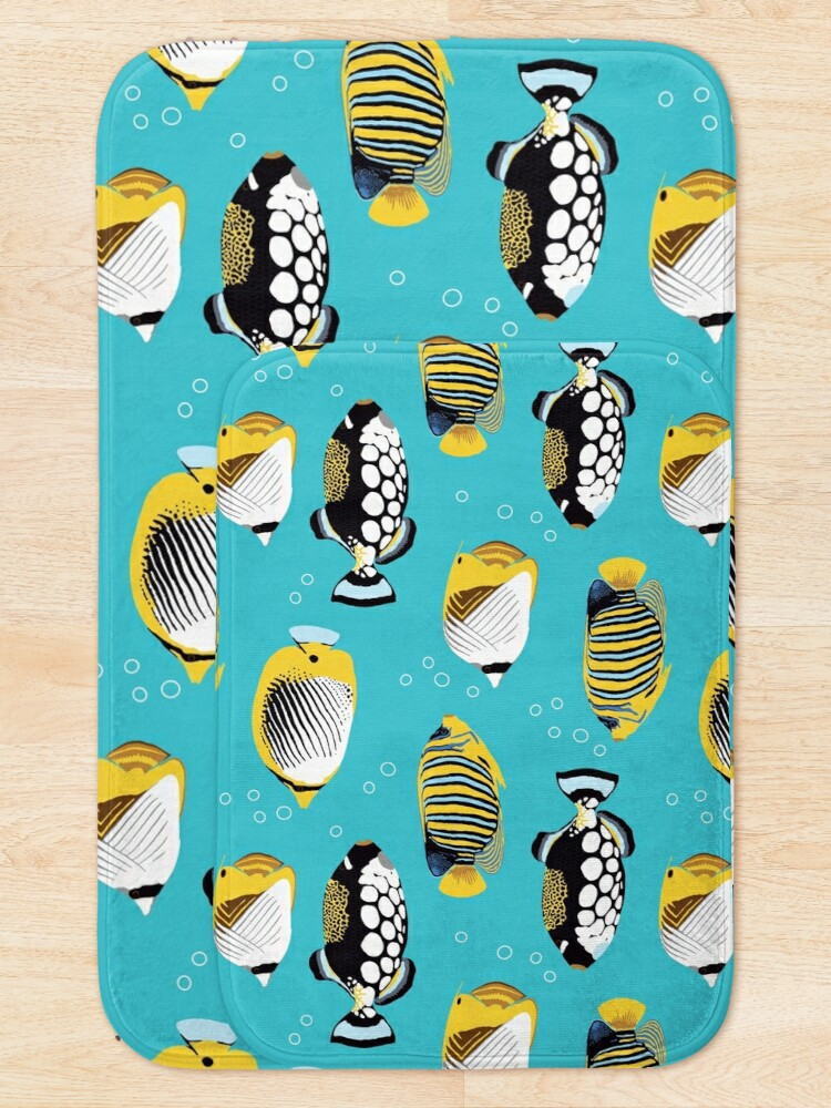Alternate view of Tropical Fish in water (with stickers) Bath Mat