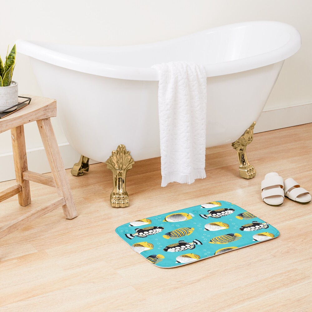 Tropical Fish in water (with stickers) Bath Mat