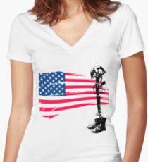 Fallen Soldier Women's Fitted V-Neck T-Shirt