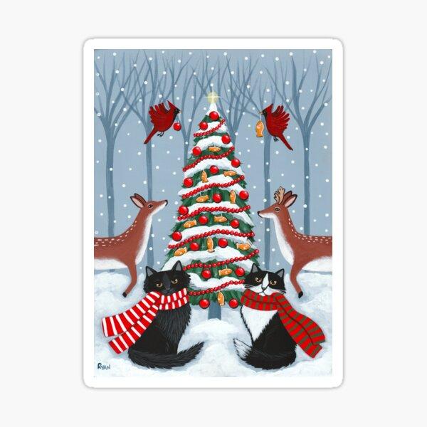 The Woodland Cats Christmas Tree Sticker