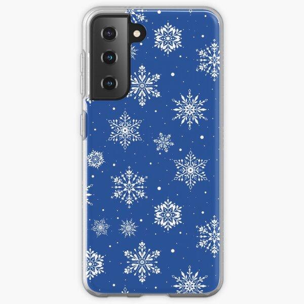 Christmas Folk Snowflakes2 Blue Samsung Galaxy Soft Case
